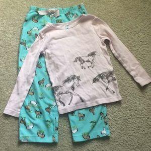 Pink and aqua horse pajamas